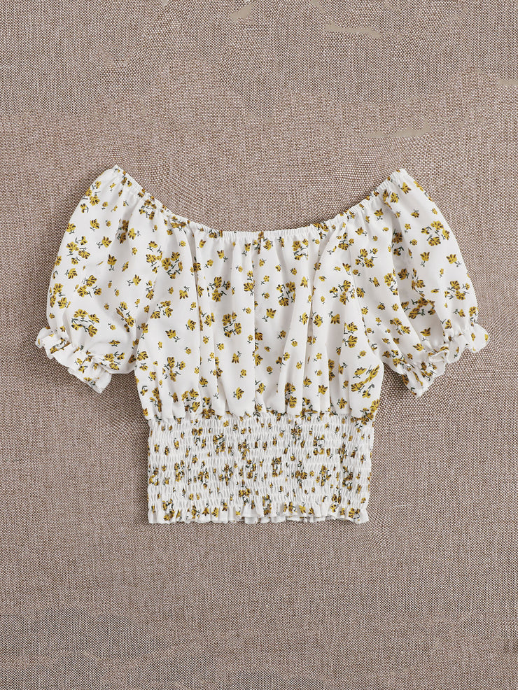 Ditsy Floral Shirred Crop Top