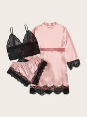 Floral Lace Bralette With Satin Shorts & Belted Robe