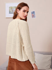 Solid Cable Knit Button Up Cardigan