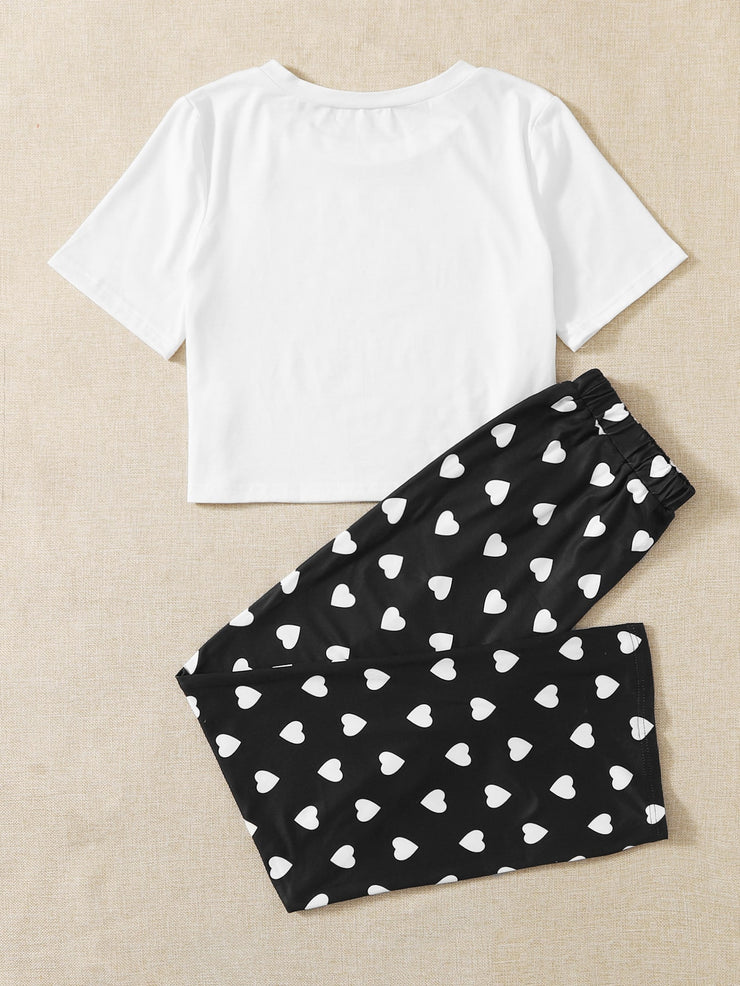 Heart Print Pants PJ Set