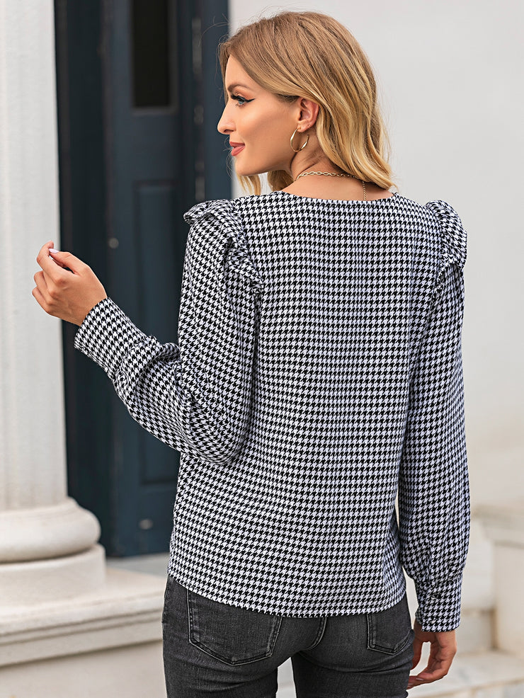 Houndstooth Ruffle Trim Button Up Blouse