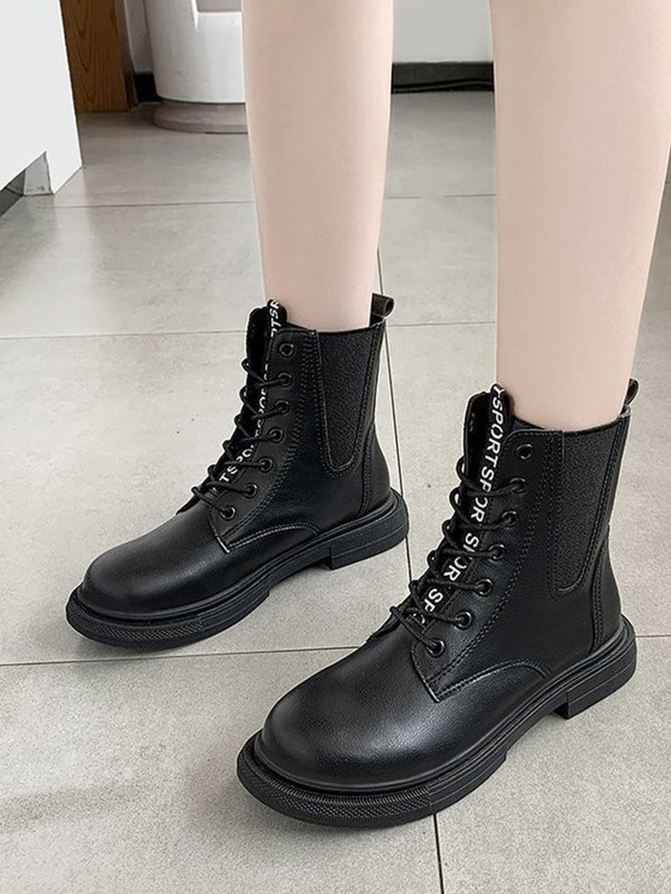 Letter Tape Lace-up Combat Boots