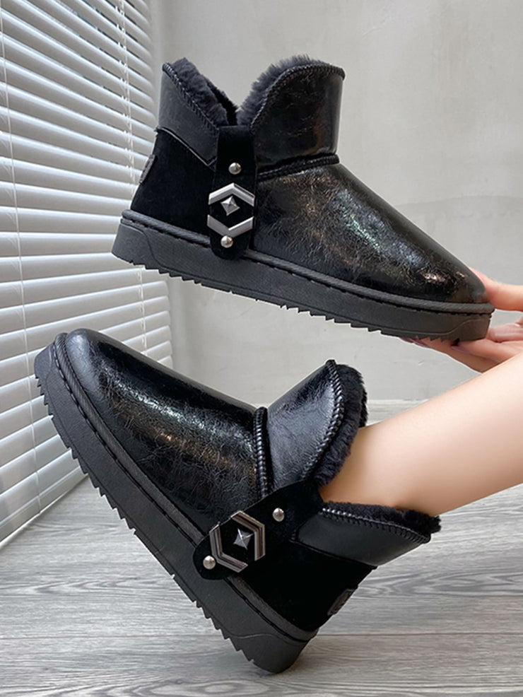 Solid Studded Snow Boots