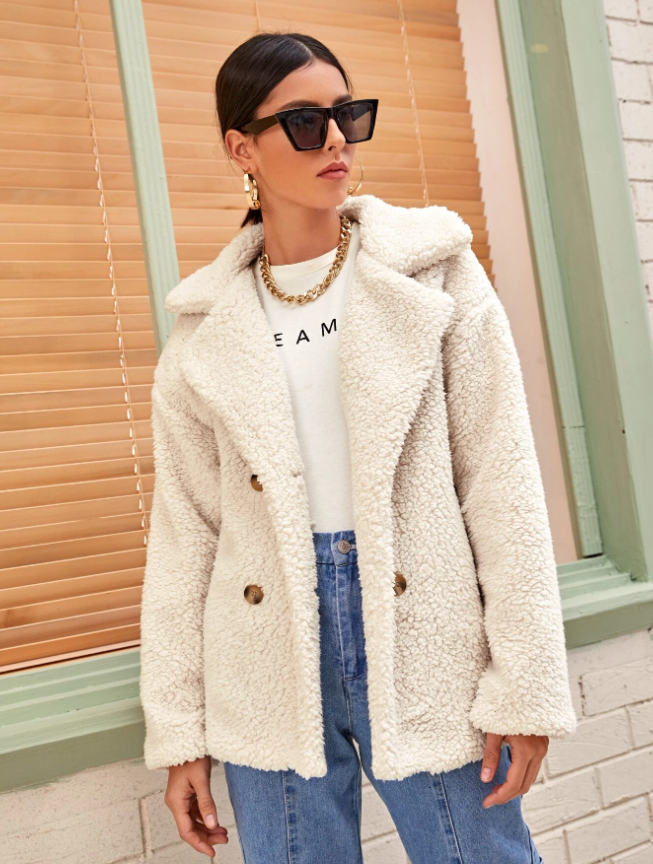 Solid Lapel Neck Double Breasted Teddy Coat