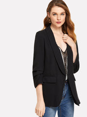 Shawl Collar Solid Blazer
