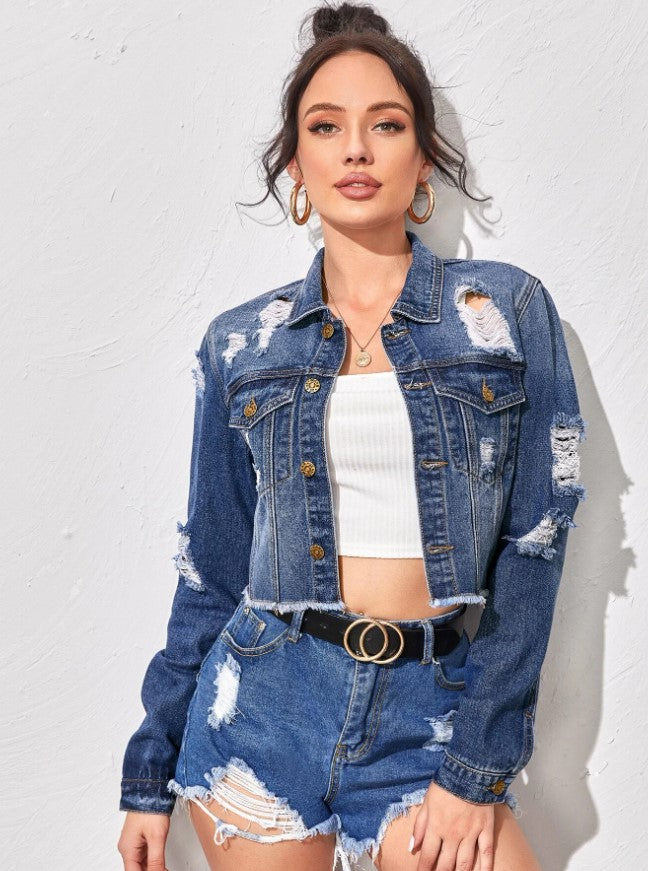 Raw Hem Ripped Denim Jacket