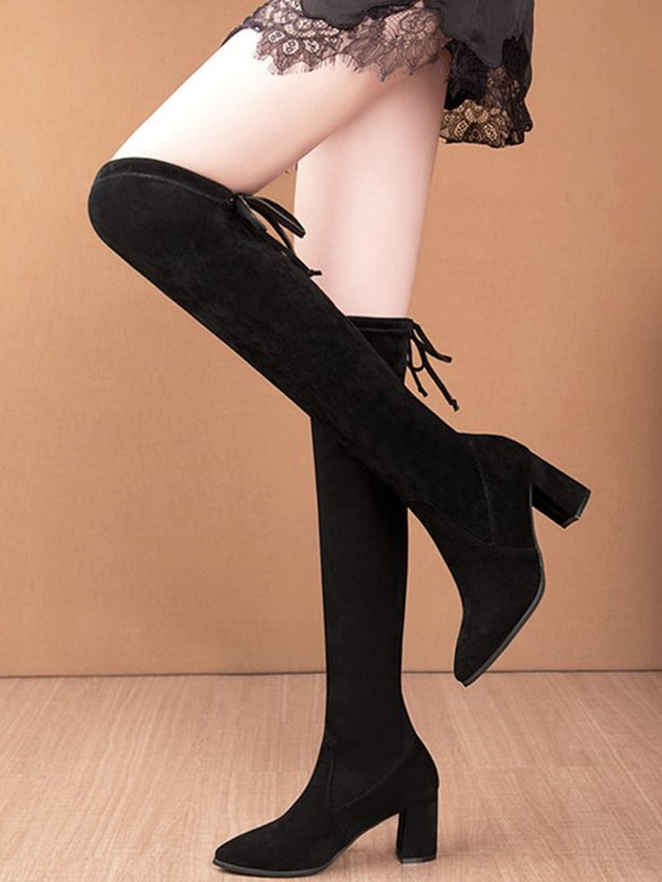 Tie Back Chunky Heeled Over The Knee Boots