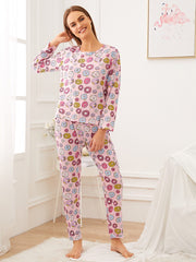 Donut Print Pajama Set With Eye Cover