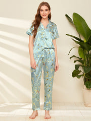 Satin Plants Print Lapel Collar PJ Set