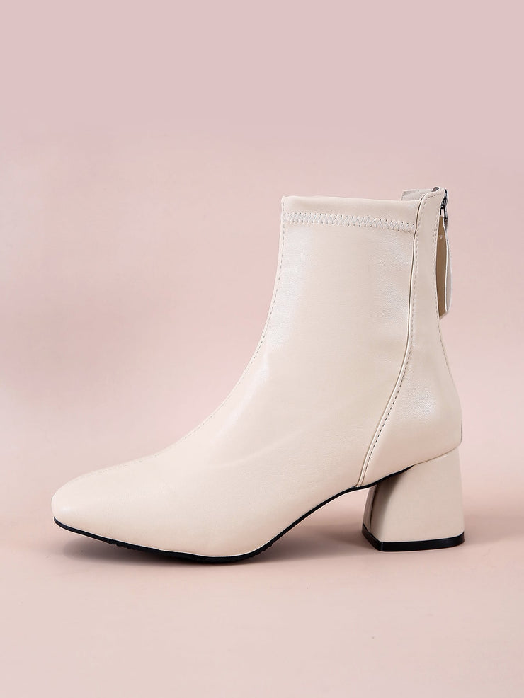 Square Toe Chunky Heeled Ankle Boots