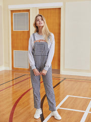 Front Pocket Gingham Overall Jumpsuit