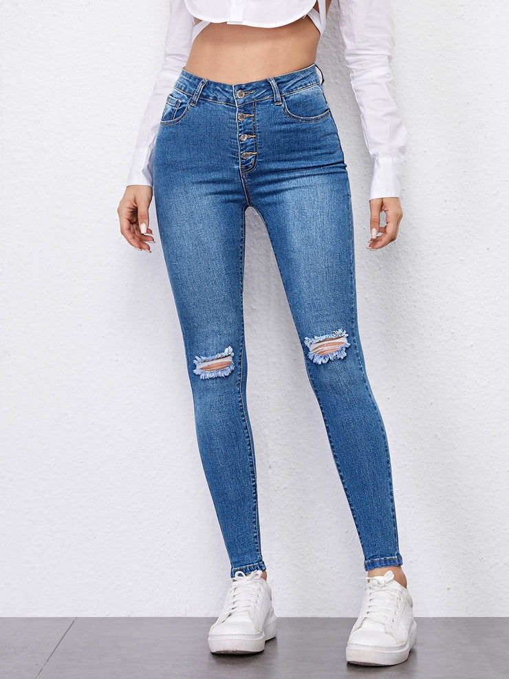 High Waist High Stretch Ripped Skinny Jeans