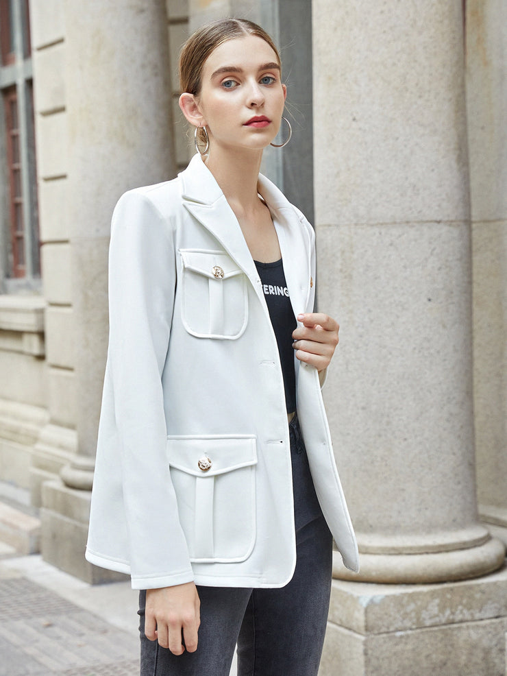 Peak Collar Flap Pocket Belted Blazer