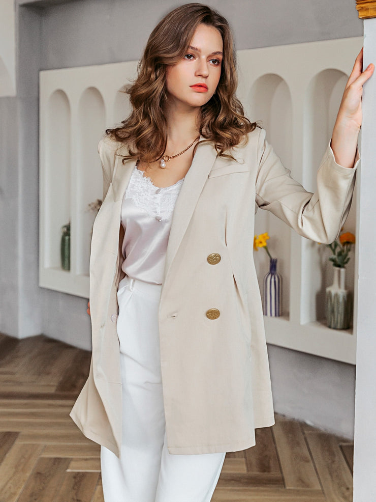 Simplee Double Button Solid Blazer Without Belt