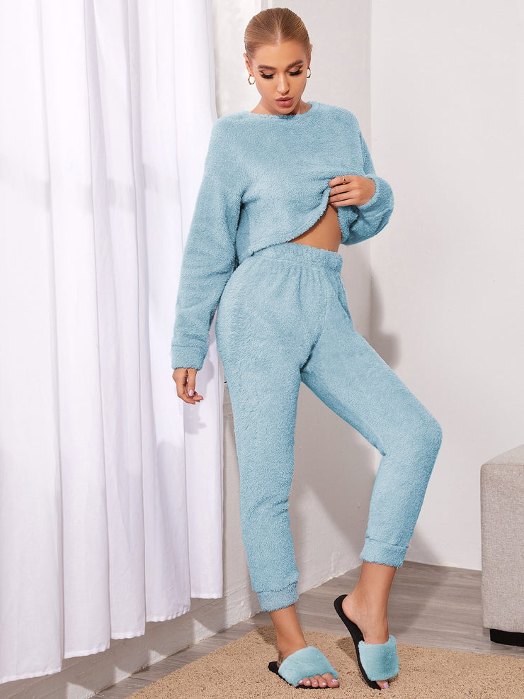 Solid Crop Top With Pants Teddy Lounge Set