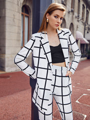 Peak Collar Single Button Up Grid Blazer