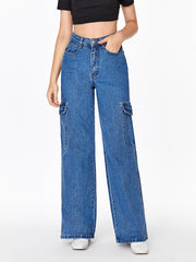 High Waisted Baggy Cargo Jeans