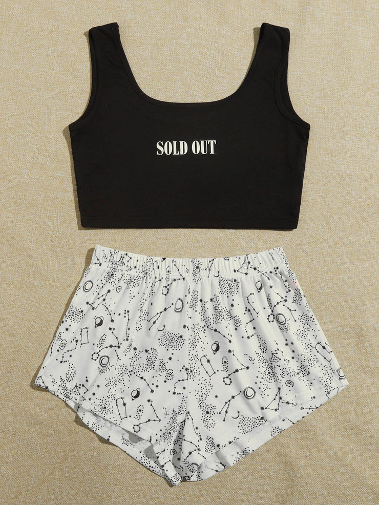 Slogan Graphic Tank Top & Galaxy Shorts Pajama Set