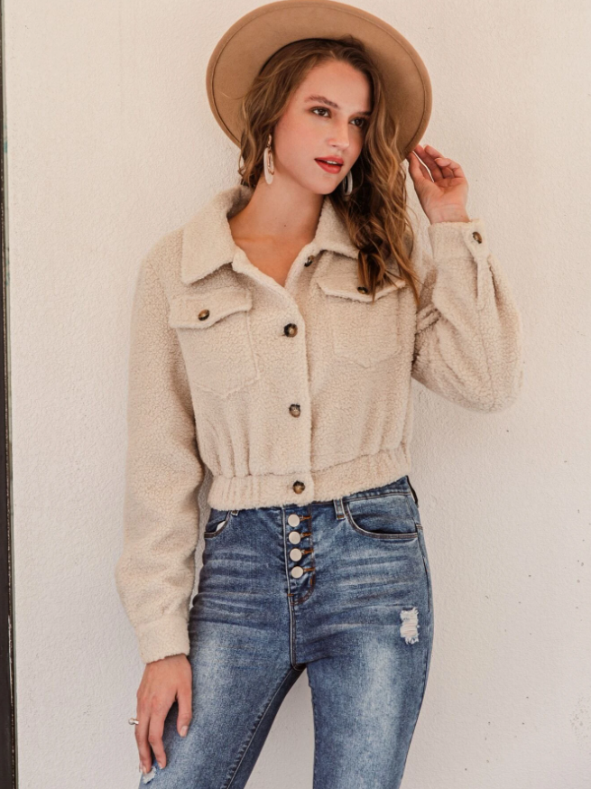 Simplee Button Front Teddy Trucker Jacket