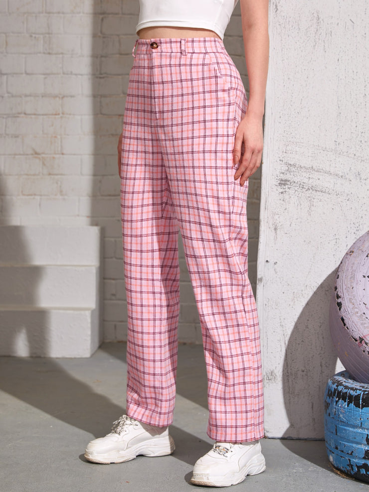 Slant Pocket Plaid Pants