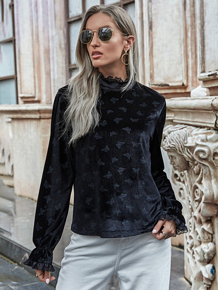 Butterfly Pattern Mock Neck Velvet Blouse