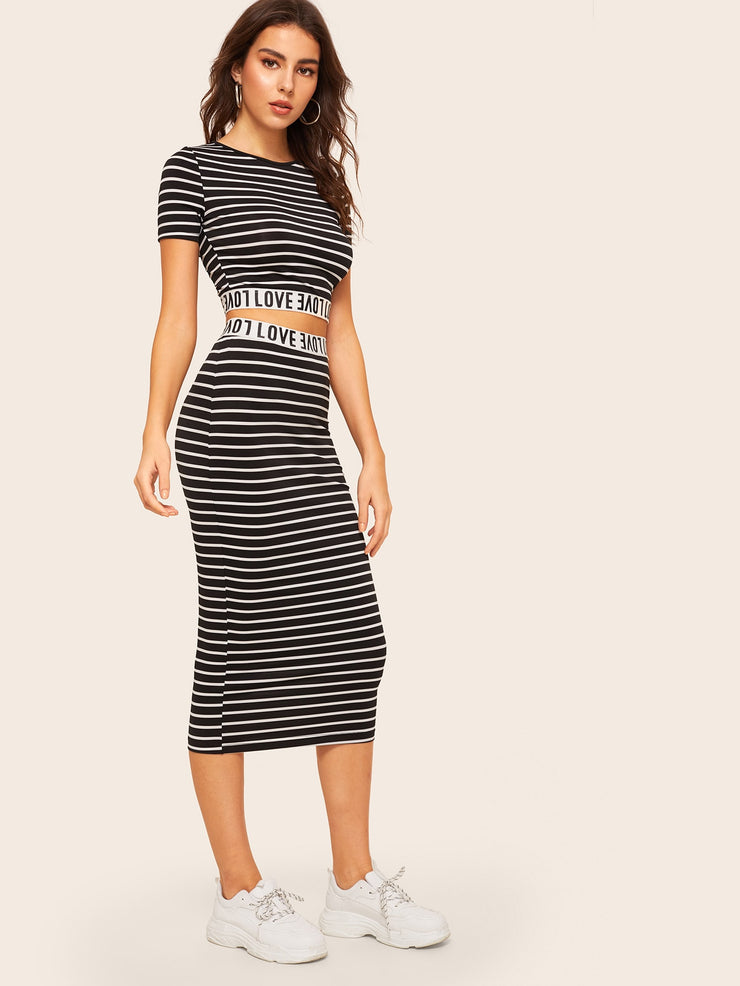 Love Graphic Striped Crop Top & Skirt Set