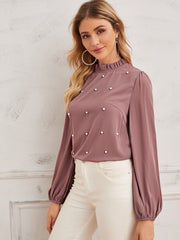 Pearl Beaded Frilled Neckline Lantern Sleeve Top