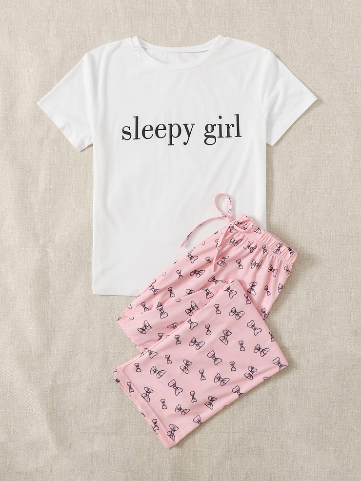 Letter And Bow Print Short Sleeve PJ Set