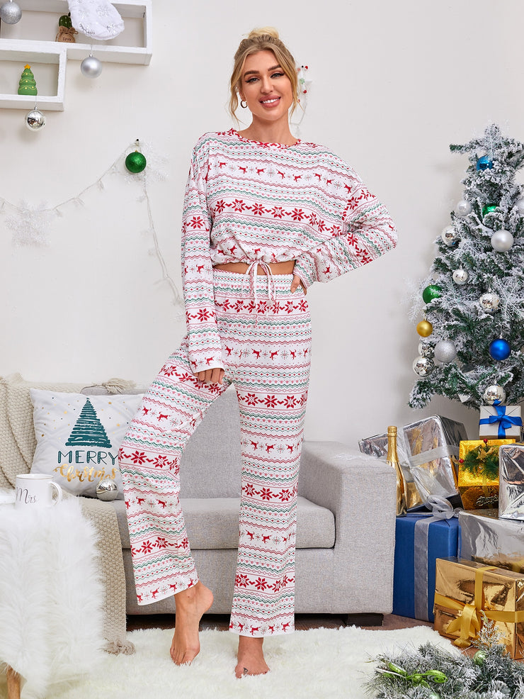Christmas Print Drawstring Hem PJ Set