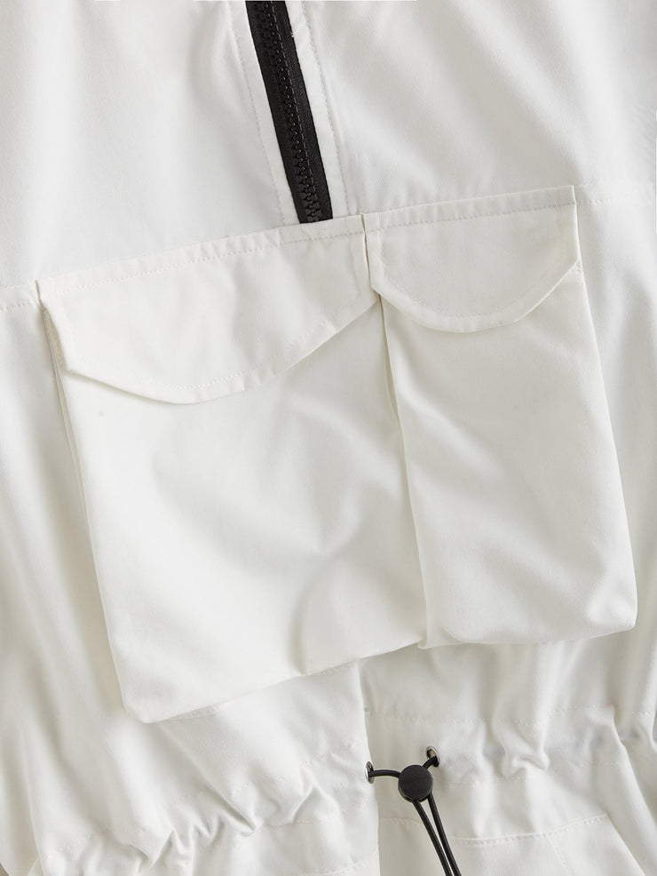 Letter Patched Drawstring Detail Jacket