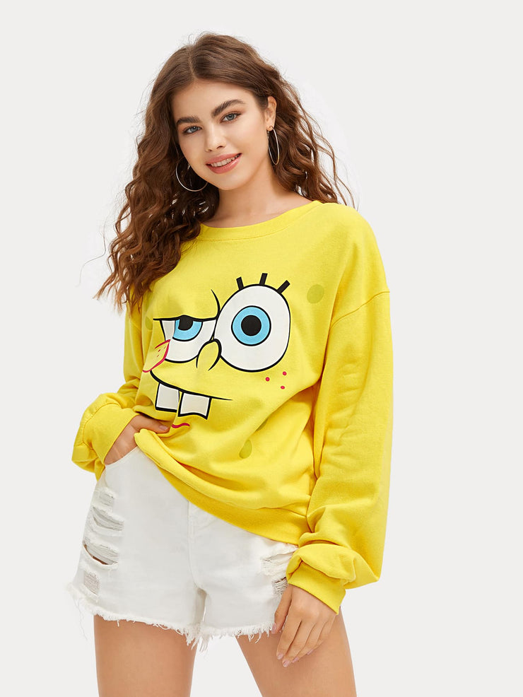 ROMWE X SpongeBob Drop Shoulder Sweatshirt