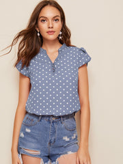 Polka Dot Petal Sleeve Top