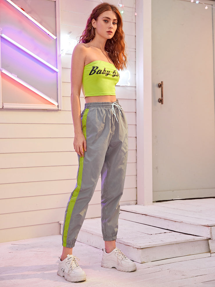 Letter Graphic Tube Top & Contrast Side Seam Windbreaker Pants Set