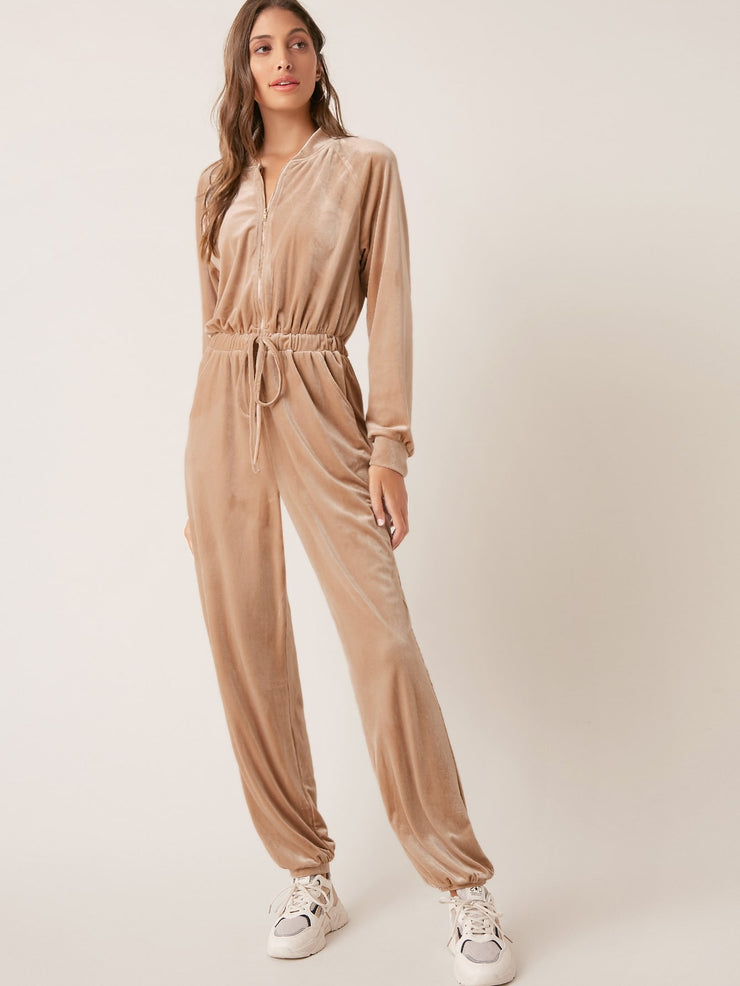 Zipper Half Placket Drawstring Waist Velvet Jumpsuit