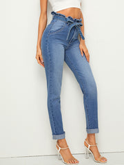 High Waisted Paperbag Waist Cigarette Jeans