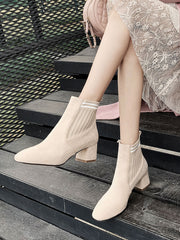 Square Toe Chunky Heeled Boots
