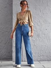 Button Front Lantern Sleeve Knot Suede Crop Top