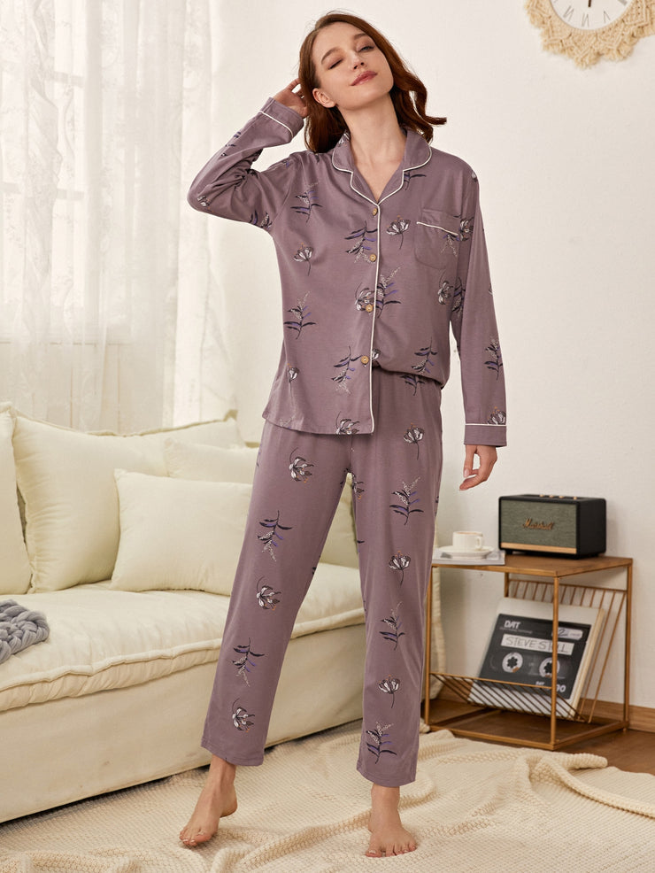 Floral Print Button Front PJ Set