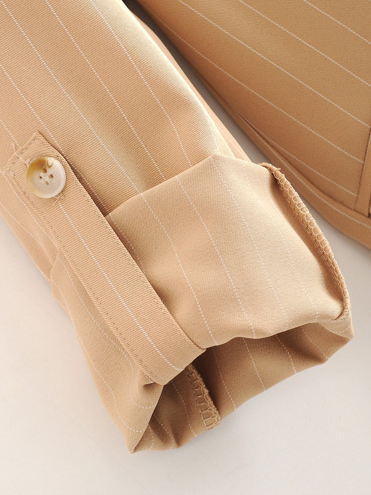 Striped Lapel Collar Rolled Sleeve Blazer