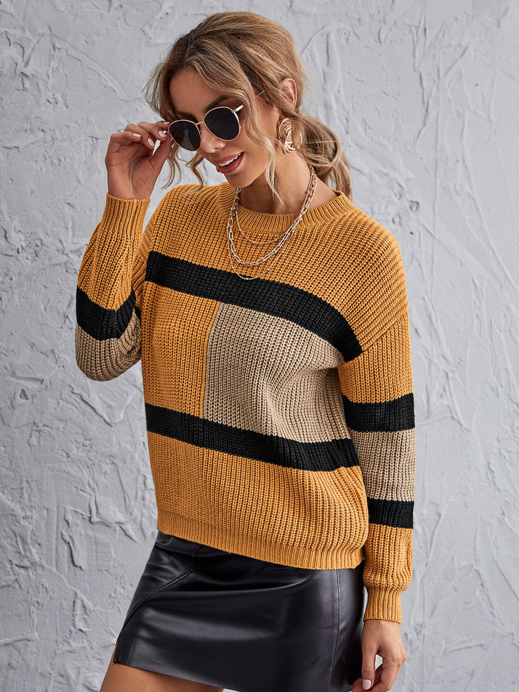 Contrast Panel Drop Shoulder Sweater