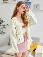 Drop Shoulder Pointelle Knit Button Front Cardigan