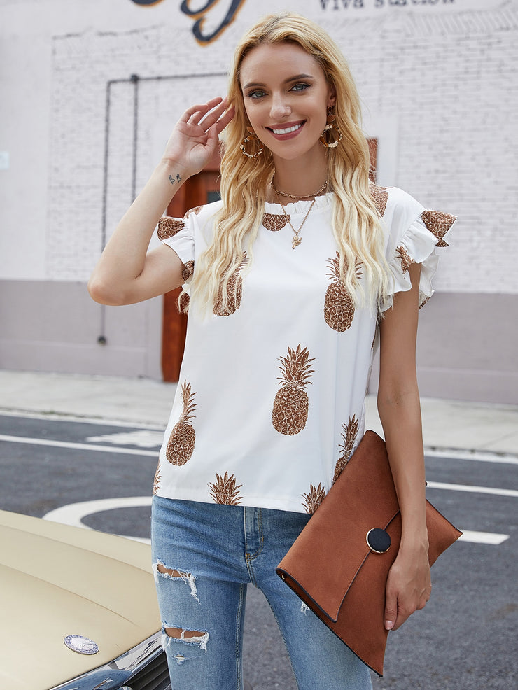 Pineapple Print Frill Neck Blouse