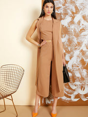 Notch Collar Vest Coat & Solid Tank Top & Palazzo Pants Set
