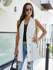 Striped Print Double Breasted Lapel Collar Blazer Vest