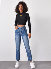 High Waist Butterfly Embroidery Straight Leg Jeans