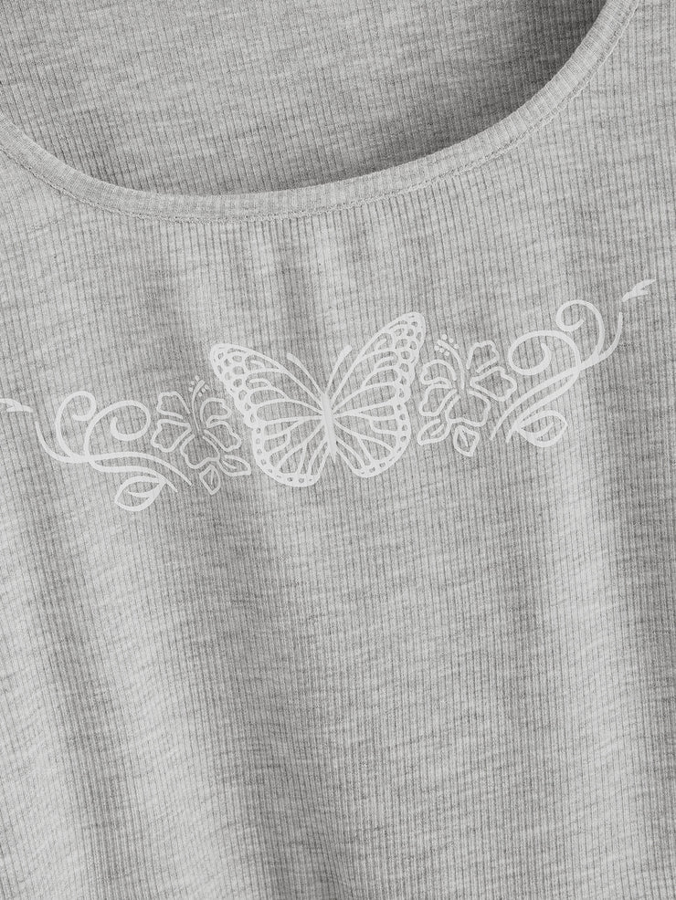 Butterfly Print Long Sleeve Tee