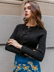 Simplee Lace Up Rib-knit Sweater