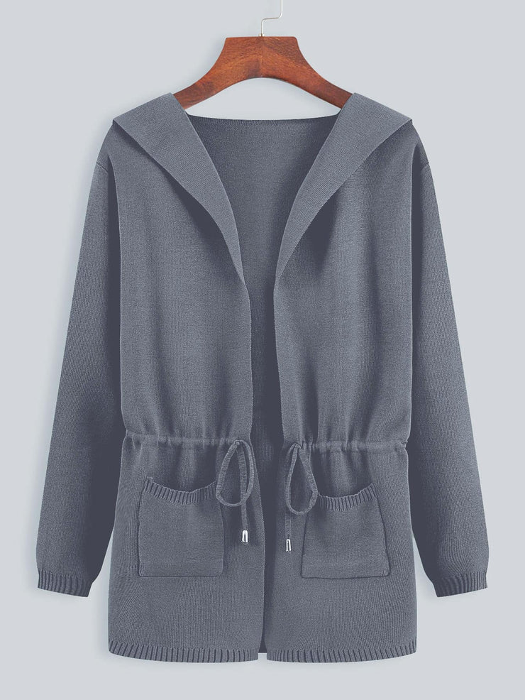 Dual Pockets Drawstring Waist Hooded Cardigan