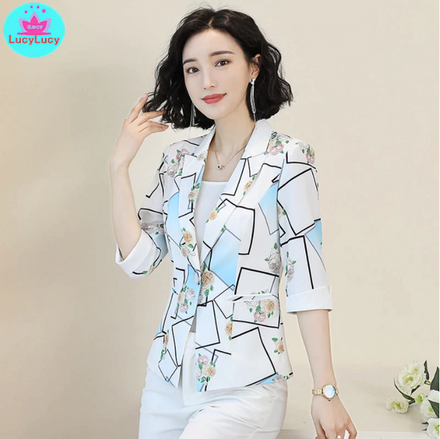 2019 Korean version of the new slim print seven-point sleeve summer small suit jacket