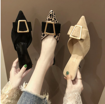Brand Women Flat Slippers Slip On Mules Leopard Shoes Women Slides Home Slippers Mules Low Heel Shoes Ladies Fashion Shoes
